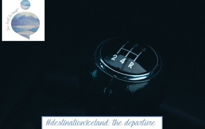 Picture of a gear shift that represent the departure to #destinationIceland.