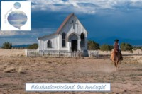 Picture of a cowboy from behind who's getting close to an old, small and wooden church by horse: in hindsight #destinationIceland looks like a walk in a garden outside my home and the preparation seems like me pretending to be a cowboy in the winning of the West.