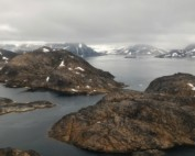 Picture taken from the helicopter that links Tasiilaq and Kulusuk, on the East coast of Greenland.