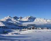 Tasiilaq, the biggest village of East Greenland, from a view point